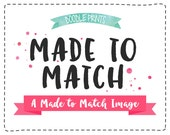 1 ONE Made To Match Image from any of the Invitation Designs here at Doodle Prints - Cupcake topper, Banner, Favor Tag, Label and more