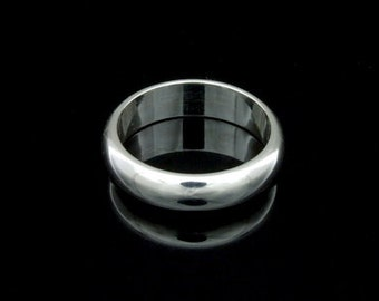 Sil-BR-006/3 Handmade 1 plain half round shank sterling silver 5.0mm. band rings