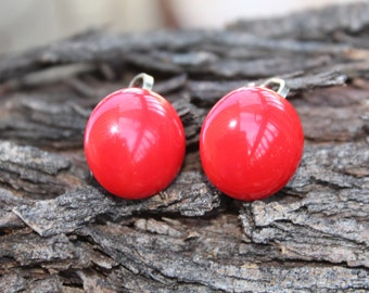 Vintage Red Button Clip On Earrings