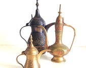 Vintage Collection of 3 Dallah Coffeepots, Tea Pots, Arabic Coffee Pots
