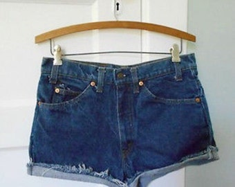 Vintage 80's 90s Revival Grunge Dark Blue LEVIS Denim Jean Cut Off Festival Shorts 29