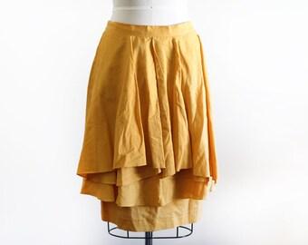 Vintage Draped Cotton and Ramie Skirt / Avant Garde / High Fashion / M L