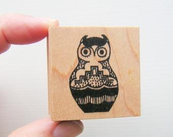 Tribal Owl Vintage Rubber Stamp