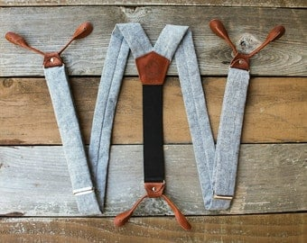 Blue Gray Linen Suspenders with Brown Leather Button Ons // Mens Braces // Groom Outfit // 1.5 inches wide // BlueLinen //  Fancy Suspenders