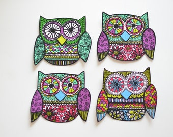 Set of 4 Owl Appliques, Fabric Iron On Appliques, DIY No Sew, Handcut, Purple and Green, Woodland Forest Theme, Ready to Ship Funky