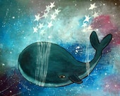 Whale Nursery Art Print, Starry Night Sky Artwork for Children, Baby Room Decor, Star Whale, Kids Wall Art, 8x10 Art Print, Storybook Style