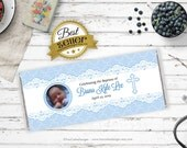 Baptism Chocolate Bar Wrapper - Baby Blue - Lace - Personalized - First communion - Printable