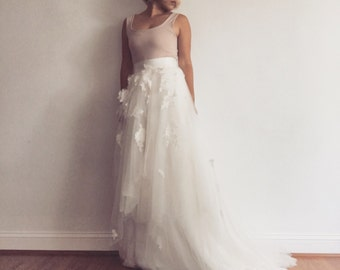 Fairy long tulle wedding skirt-made to order in your size - high low hem with fairy uneven layered tulle- lace and silk lining
