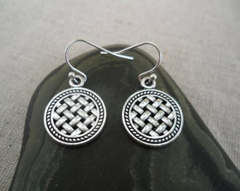 Woven Silver Earrings - Lattice - Basket Weave - Boho Bohemian Earrings - Modern Silver Jewelry - Simple Everyday