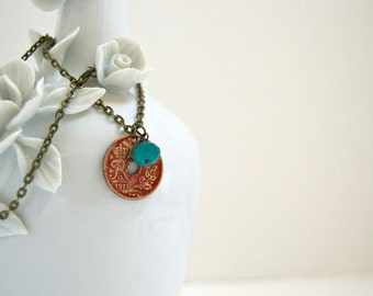 Coin Necklace, Denmark 25 Ore, Coin Jewelry, Coin Pendant, Danish Coin C3