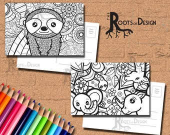 INSTANT DOWNLOAD Coloring Postcard Page