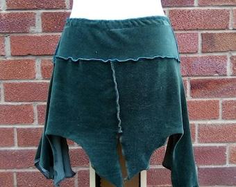 RESERVED FOR AMY Green velvet pixie skirt upcycled by Niknok