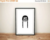 CIVIC DUTY SALE Wednesday Addams, Silhouette Quote Poster // Typographic Character Illustration Inspired by Addams Family
