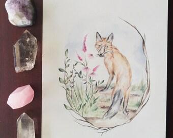 Original Fox + Botanical Watercolor Painting