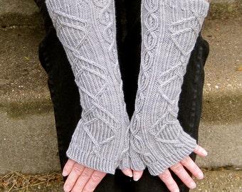 Knit Mitt Pattern:  The Tipperary Long Fingerless Mitt Knitting Pattern