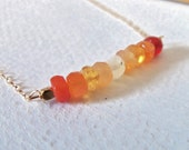 Mexican Fire Opal Gemstone Wire Wrapped Handmade Necklace with 14k Gold Fill