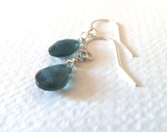 Aquamarine Gemstone Natural Handmade Dangle Earrings with Sterling Silver