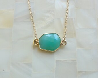 Faceted Green Chrysoprase Vermeil Bezel Connector on Gold Chain Necklace (N1727)