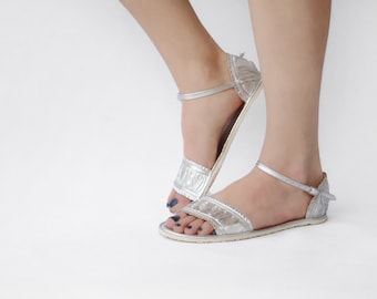 Sandals Handmade Leather - Silver - Zero drop & CUSTOM FIT