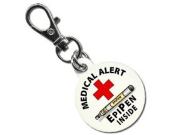 Medical Alert EPIPEN INSIDE - Aluminum Dog Tag 2-Sided (Choose Size)