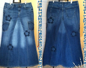 DELAROSA Brenda Garden Worker Jean Skirt Custom Your Size  choose your size and length size 0 1 2 4 6 8 10 12 14 16 18 20 22 24 26