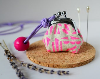 Tiny Frame Purse Necklace - Lavender Sachet - Length Adjustable, made from Japanese fabric - Neon Pink
