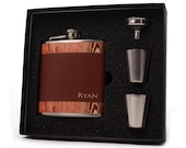 Personalized Flask // Rustic Gift Flask Set // 6 oz Size