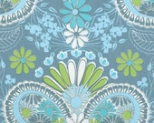 ON SALE - LOVELORN - Jenean Morrison - Damask in Blue  Pwjm100 - Free Spirit Fabric - 1 Yard