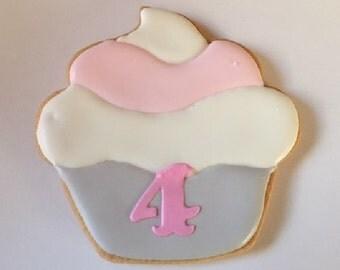 Birthday Cupcake Decorated Cookie Favors - 1 dozen