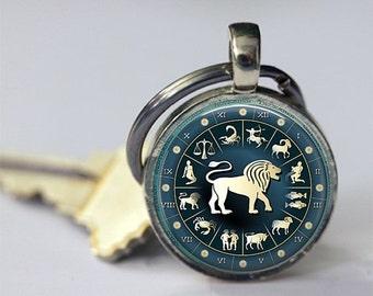 ON SALE Leo Keychain Zodiac Accessories Astrological Sign Lion July August Birthday Astrology Key Chain, Key Fob