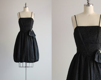 Vintage 50s Dress, Black Cocktail Dress Party Dress, Bubble Hem Little Black Dress, size Medium