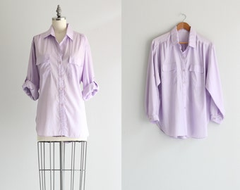 Pastel Lavender Purple Button Down Shirt . Vintage Womens Safari Shirt