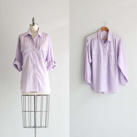 pastel lavender purple button down shirt vintage womens