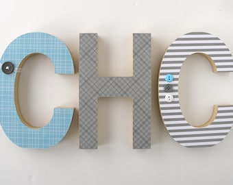 "Set of 3 Decorated 8"" Standing Wood Letters, Nursery Name Décor, Alphabet Bedroom, Hanging Wood Wall Decorations, Birthday Baby Shower Gift"