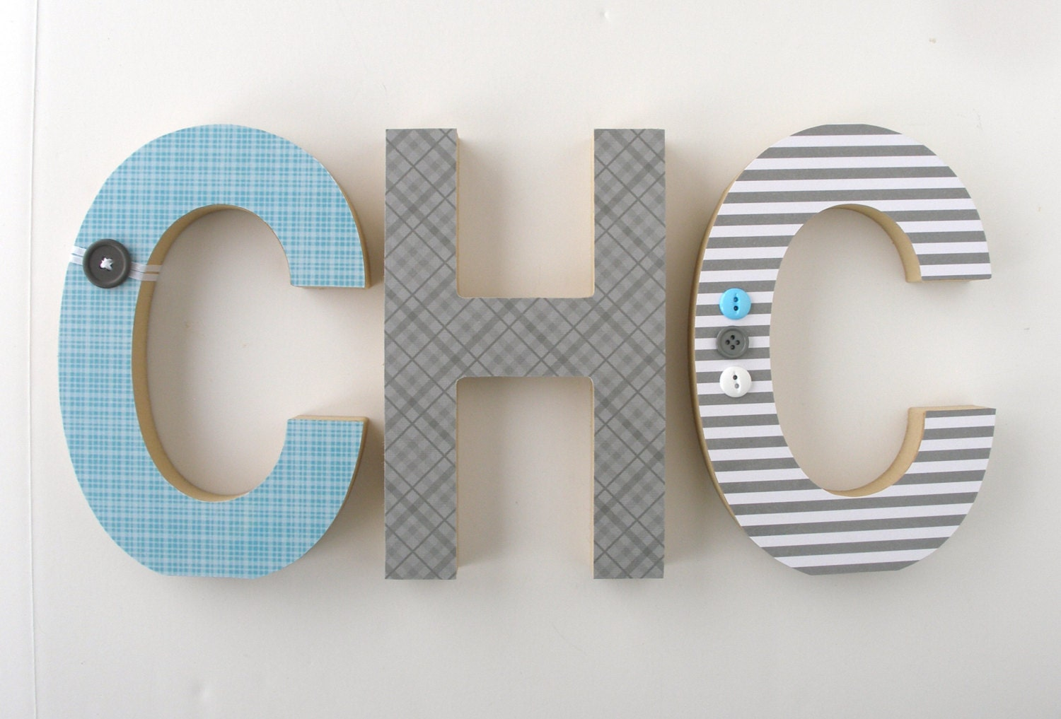 set of 3 decorated 8 standing wood letters nursery name