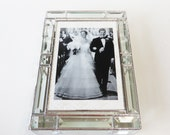 Stained Glass Keepsake Box Elegant Beveled Box 8x11x2 Wedding Invitation Bride Groom Photograph Engagement Picture Custom Made-to-Order
