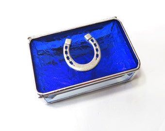 Stained Glass Box Cobalt Blue 2x3x1 Horseshoe Horse Lover Colts Inspired Colts Fan Handmade Graduation Gift