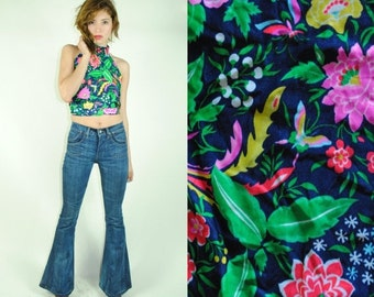CLEARENCE 80% OFF 70's SUMMER Tropical Halter Crop Top (S)