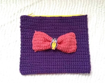Crochet purse/wallet/handmade/bow/owl/ gift for girls/spring/summer/ready to ship/Free shipping for European Union and United States