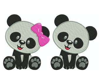 PANDA 1 - Machine Filled Embroidery - Instant Digital Download