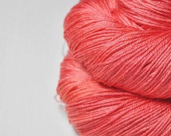 Shiny new plastic flamingo OOAK - Merino/Silk Fingering Yarn Superwash