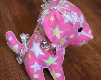 Decorated Stuffed Dog in Pink Flannel with Multi-colored Stars