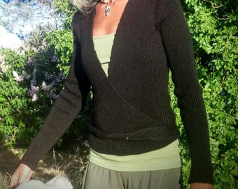 Made to order wrap sweater, knit alpaca or organic merino wool