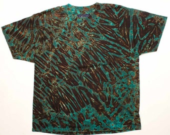 XL Shibori Men's T Shirt Tie Dye with Black Green Hand Dyed