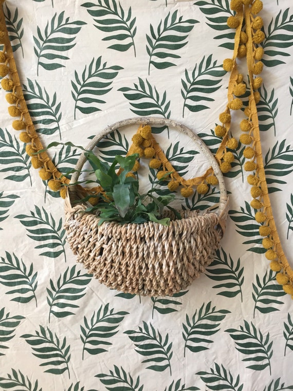 vintage woven wicker rope wall hanging basket / boho