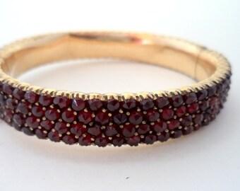 Antique Victorian Bohemian Garnet Bangle Bracelet 4 Rows of Rose Cut Garnets