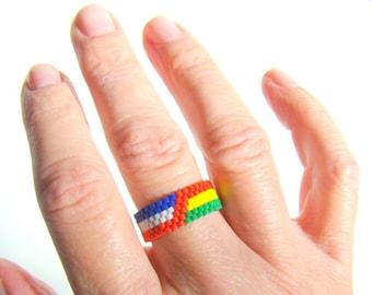 American Jamaican Bead Ring  Jamaican Jewelry  Beaded Ring Rasta Ring  Reggae Ethnic Rastafari Boho Tribal Jamaican Gifts
