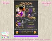 minnie birthday invitation minnie halloween invitation minnie invite 1st birthday chalkboard purple orange photo