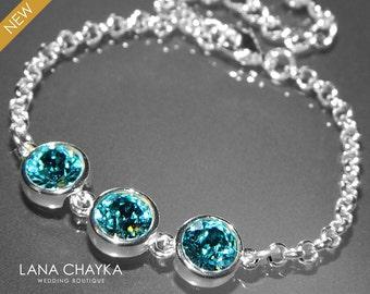 Light Turquoise Crystal Bracelet Blue Teal Bridesmaid Bracelet Swarovski Light Turquoise Rhinestone Silver Bracelet Bridal Party Jewelry