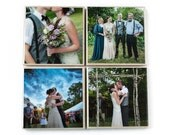Custom Photo Coaster Set (4 Stone Coasters: Black and White OR Color) Personalized Photo Coasters, Custom Photo Gift - Wedding - Family